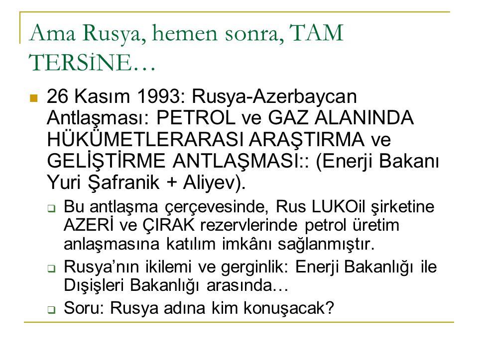 Ama Rusya, hemen sonra, TAM TERS İ NE… 26 Kasım 1993: Rusya-Azerbaycan Antlaşması: PETROL ve GAZ ALANINDA HÜKÜMETLERARASI ARAŞTIRMA ve GELİŞTİRME ANTL