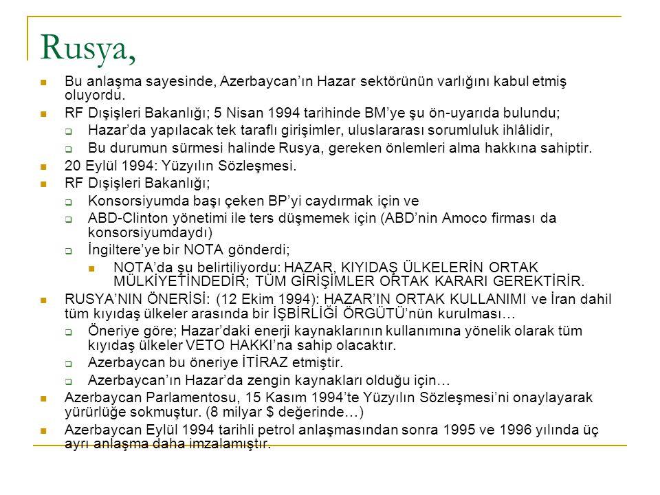 Rusya, Bu anlaşma sayesinde, Azerbaycan'ın Hazar sektörünün varlığını kabul etmiş oluyordu. RF Dışişleri Bakanlığı; 5 Nisan 1994 tarihinde BM'ye şu ön