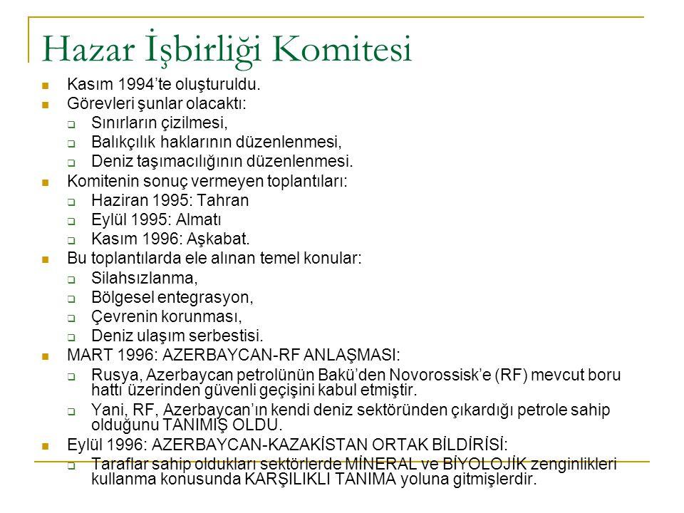 Hazar İşbirliği Komitesi Kasım 1994'te oluşturuldu. Görevleri şunlar olacaktı:  Sınırların çizilmesi,  Balıkçılık haklarının düzenlenmesi,  Deniz t