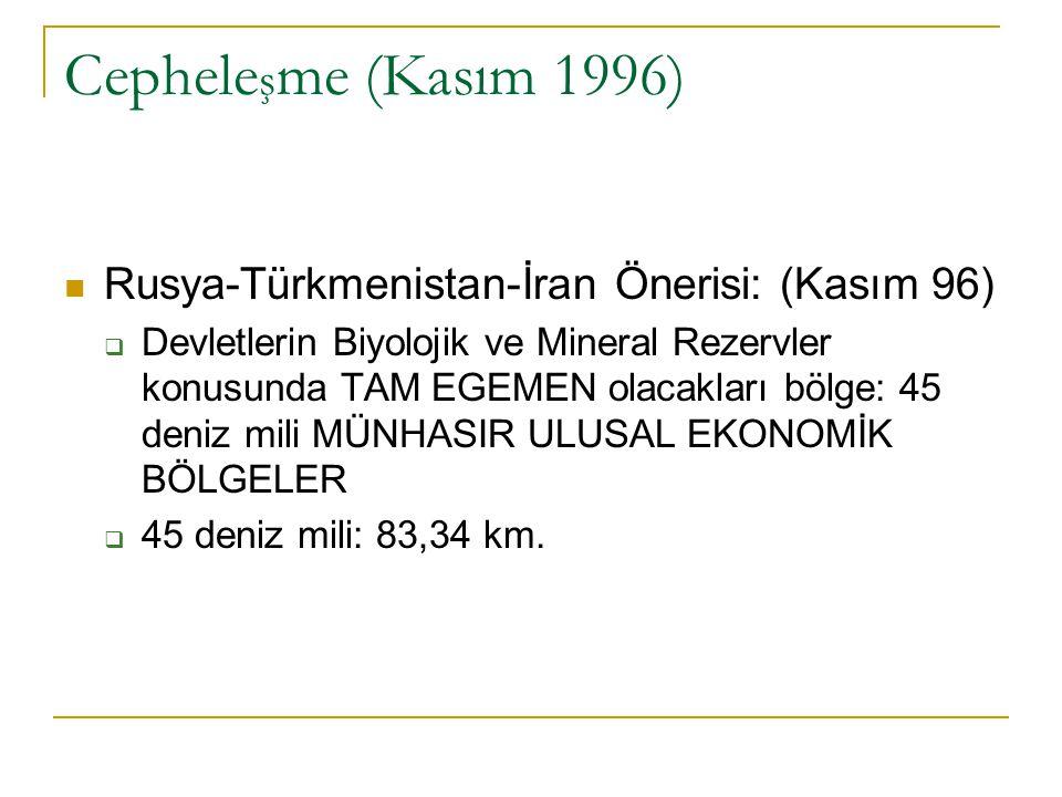 Cephele ş me (Kasım 1996) Rusya-Türkmenistan-İran Önerisi: (Kasım 96)  Devletlerin Biyolojik ve Mineral Rezervler konusunda TAM EGEMEN olacakları böl