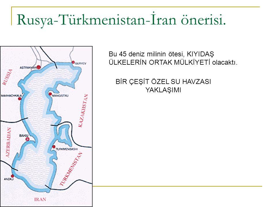 Rusya-Türkmenistan-İran önerisi. Bu 45 deniz milinin ötesi, KIYIDAŞ ÜLKELERİN ORTAK MÜLKİYETİ olacaktı. BİR ÇEŞİT ÖZEL SU HAVZASI YAKLAŞIMI