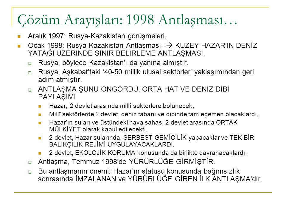 Çözüm Arayışları: 1998 Antlaşması… Aralık 1997: Rusya-Kazakistan görüşmeleri. Ocak 1998: Rusya-Kazakistan Antlaşması--  KUZEY HAZAR'IN DENİZ YATAĞI Ü