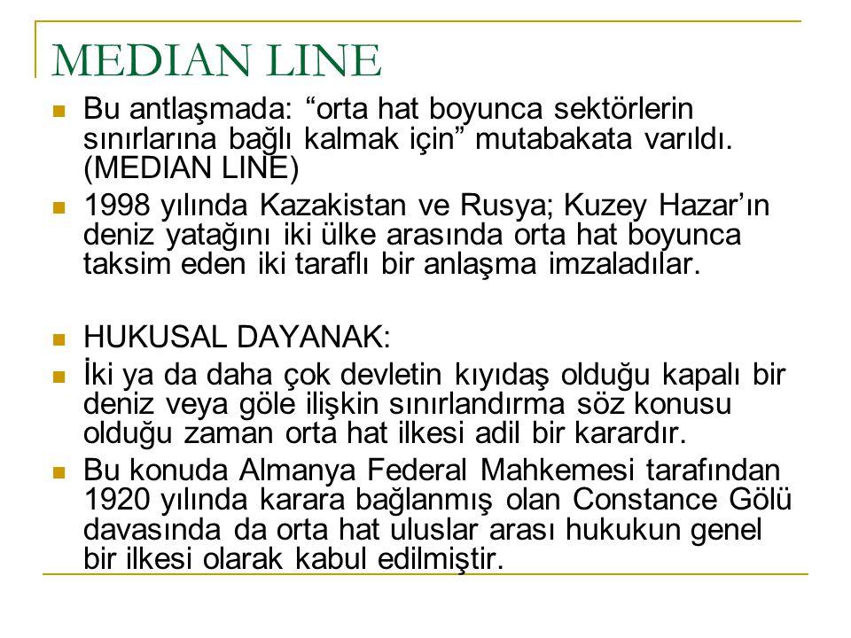 """MEDIAN LINE Bu antlaşmada: """"orta hat boyunca sektörlerin sınırlarına bağlı kalmak için"""" mutabakata varıldı. (MEDIAN LINE) 1998 yılında Kazakistan ve R"""