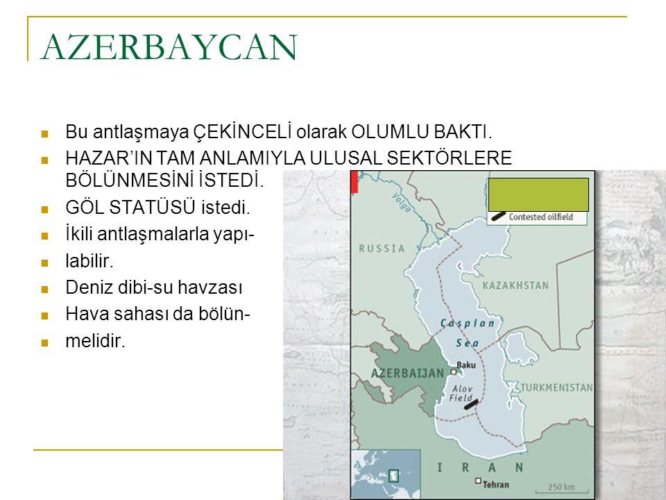 AZERBAYCAN Bu antlaşmaya ÇEKİNCELİ olarak OLUMLU BAKTI. HAZAR'IN TAM ANLAMIYLA ULUSAL SEKTÖRLERE BÖLÜNMESİNİ İSTEDİ. GÖL STATÜSÜ istedi. İkili antlaşm