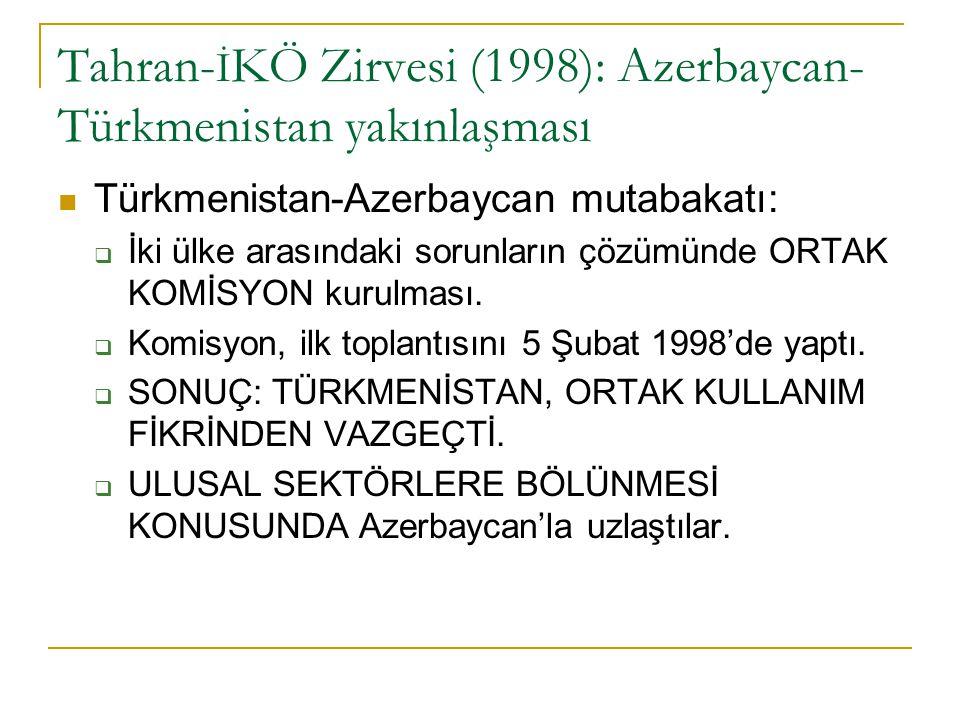 Tahran- İ KÖ Zirvesi (1998): Azerbaycan- Türkmenistan yakınlaşması Türkmenistan-Azerbaycan mutabakatı:  İki ülke arasındaki sorunların çözümünde ORTA