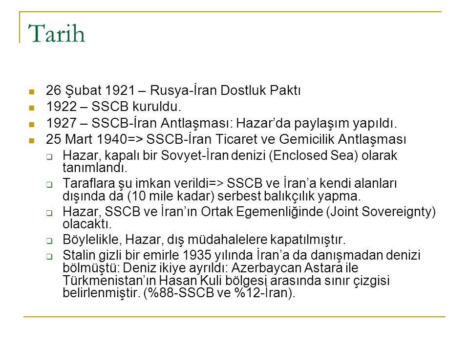 Tarih 26 Şubat 1921 – Rusya-İran Dostluk Paktı 1922 – SSCB kuruldu. 1927 – SSCB-İran Antlaşması: Hazar'da paylaşım yapıldı. 25 Mart 1940=> SSCB-İran T