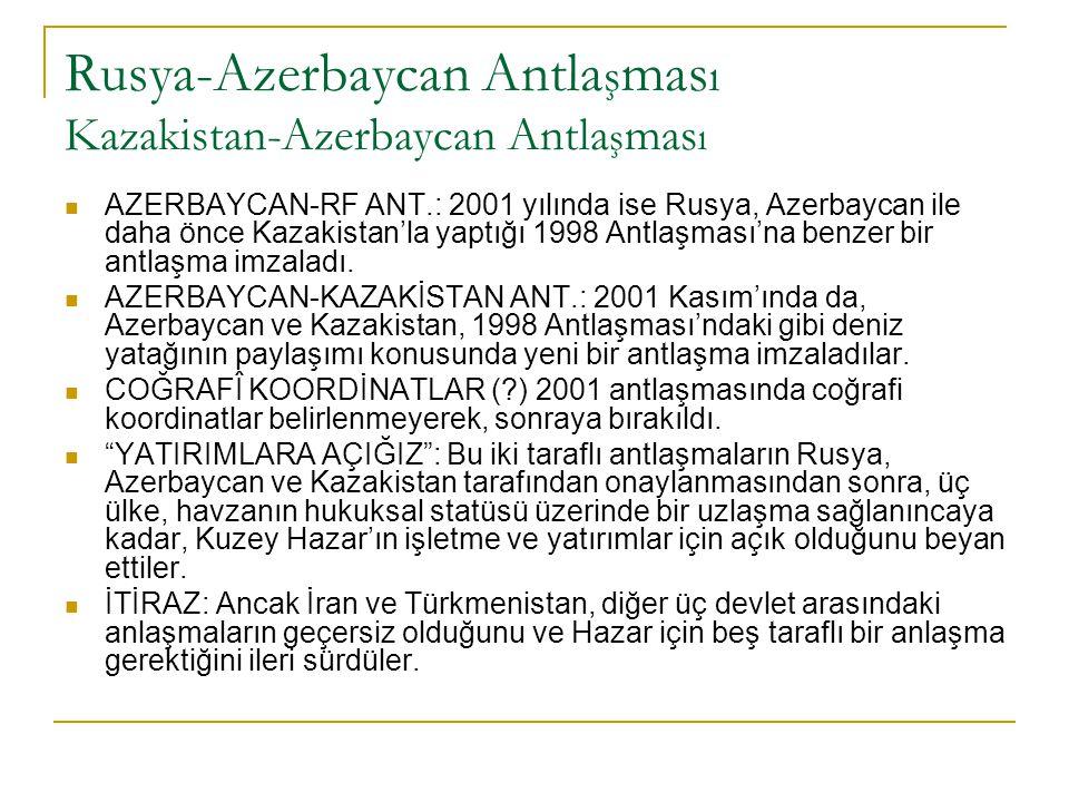 Rusya-Azerbaycan Antla ş mas ı Kazakistan-Azerbaycan Antla ş mas ı AZERBAYCAN-RF ANT.: 2001 yılında ise Rusya, Azerbaycan ile daha önce Kazakistan'la