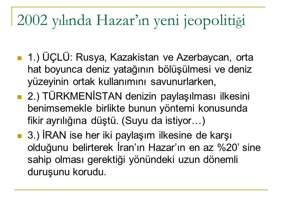 2002 y ı l ı nda Hazar' ı n yeni jeopoliti ğ i 1.) ÜÇLÜ: Rusya, Kazakistan ve Azerbaycan, orta hat boyunca deniz yatağının bölüşülmesi ve deniz yüzeyi