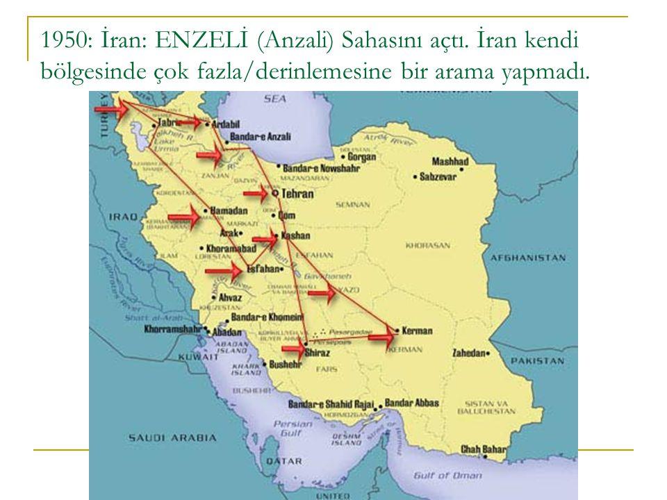 1950: İran: ENZELİ (Anzali) Sahasını açtı. İran kendi bölgesinde çok fazla/derinlemesine bir arama yapmadı.