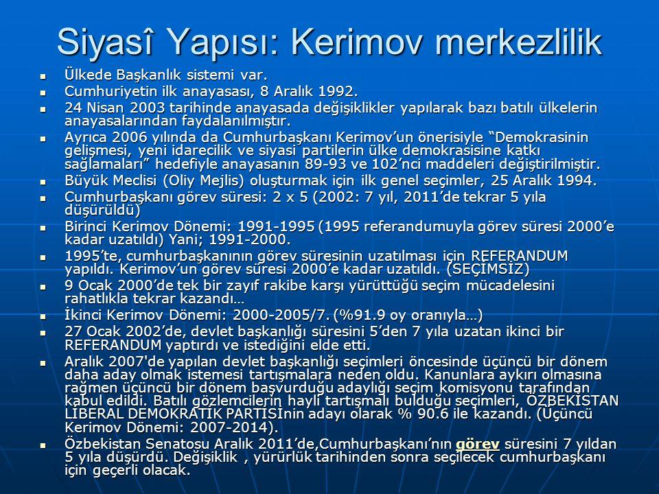Siyasî Yapısı: Kerimov merkezlilik Ülkede Başkanlık sistemi var. Ülkede Başkanlık sistemi var. Cumhuriyetin ilk anayasası, 8 Aralık 1992. Cumhuriyetin