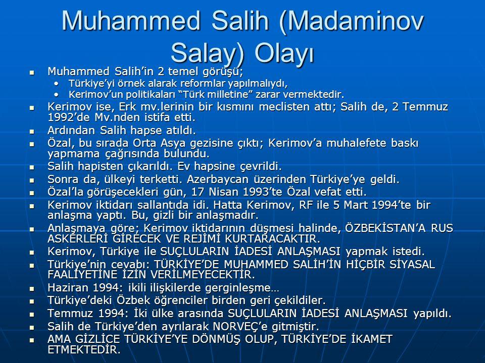 Muhammed Salih (Madaminov Salay) Olayı Muhammed Salih'in 2 temel görüşü; Muhammed Salih'in 2 temel görüşü; Türkiye'yi örnek alarak reformlar yapılmalı