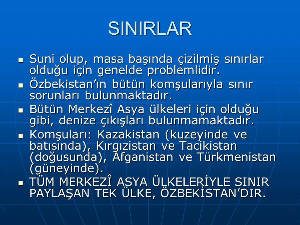 SINIRLAR Suni olup, masa başında çizilmiş sınırlar olduğu için genelde problemlidir. Suni olup, masa başında çizilmiş sınırlar olduğu için genelde pro