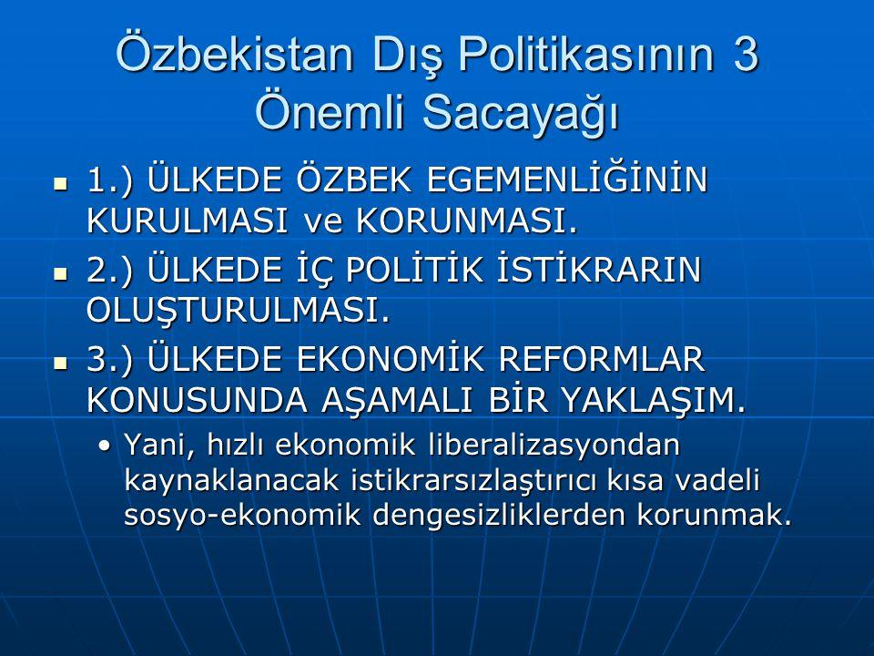Özbekistan Dış Politikasının 3 Önemli Sacayağı 1.) ÜLKEDE ÖZBEK EGEMENLİĞİNİN KURULMASI ve KORUNMASI. 1.) ÜLKEDE ÖZBEK EGEMENLİĞİNİN KURULMASI ve KORU