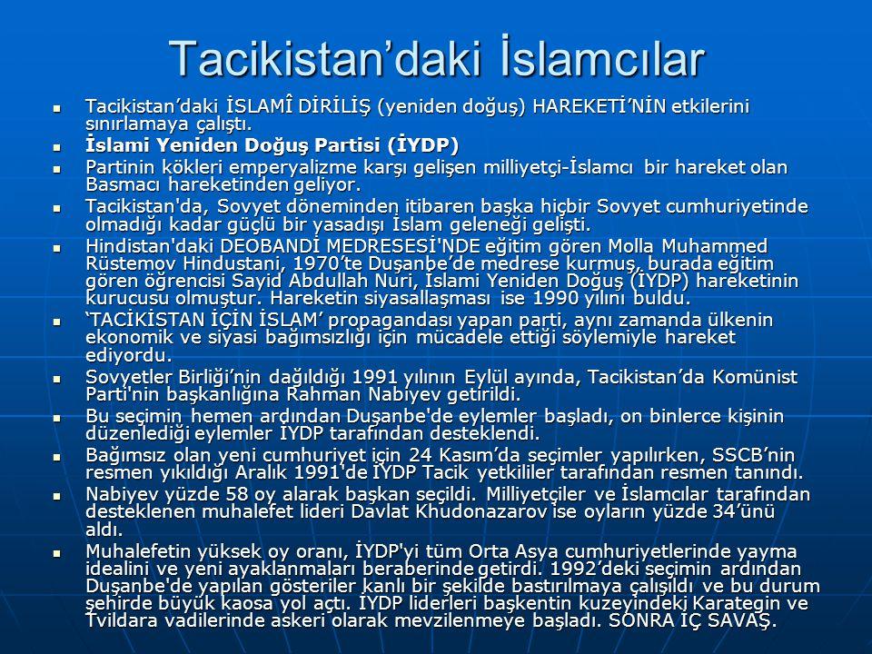Tacikistan'daki İslamcılar Tacikistan'daki İSLAMÎ DİRİLİŞ (yeniden doğuş) HAREKETİ'NİN etkilerini sınırlamaya çalıştı. Tacikistan'daki İSLAMÎ DİRİLİŞ