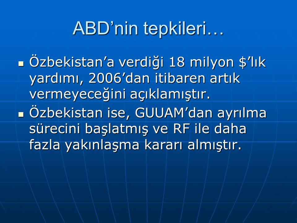 ABD'nin tepkileri… Özbekistan'a verdiği 18 milyon $'lık yardımı, 2006'dan itibaren artık vermeyeceğini açıklamıştır. Özbekistan'a verdiği 18 milyon $'