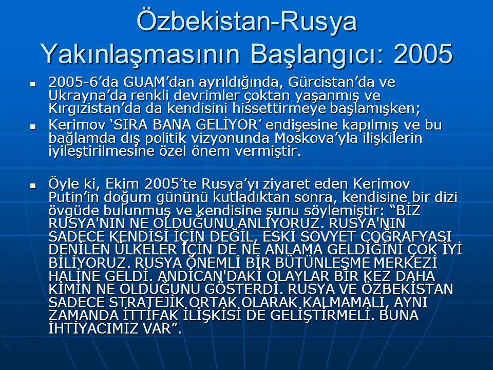 Özbekistan-Rusya Yakınlaşmasının Başlangıcı: 2005 2005-6'da GUAM'dan ayrıldığında, Gürcistan'da ve Ukrayna'da renkli devrimler çoktan yaşanmış ve Kırg