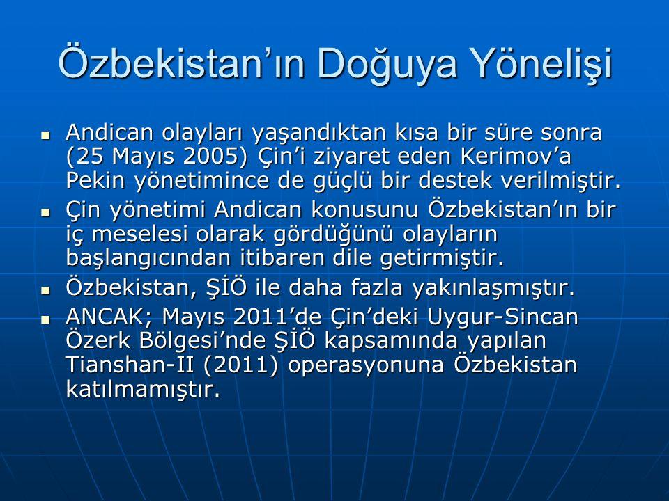 Özbekistan'ın Doğuya Yönelişi Andican olayları yaşandıktan kısa bir süre sonra (25 Mayıs 2005) Çin'i ziyaret eden Kerimov'a Pekin yönetimince de güçlü