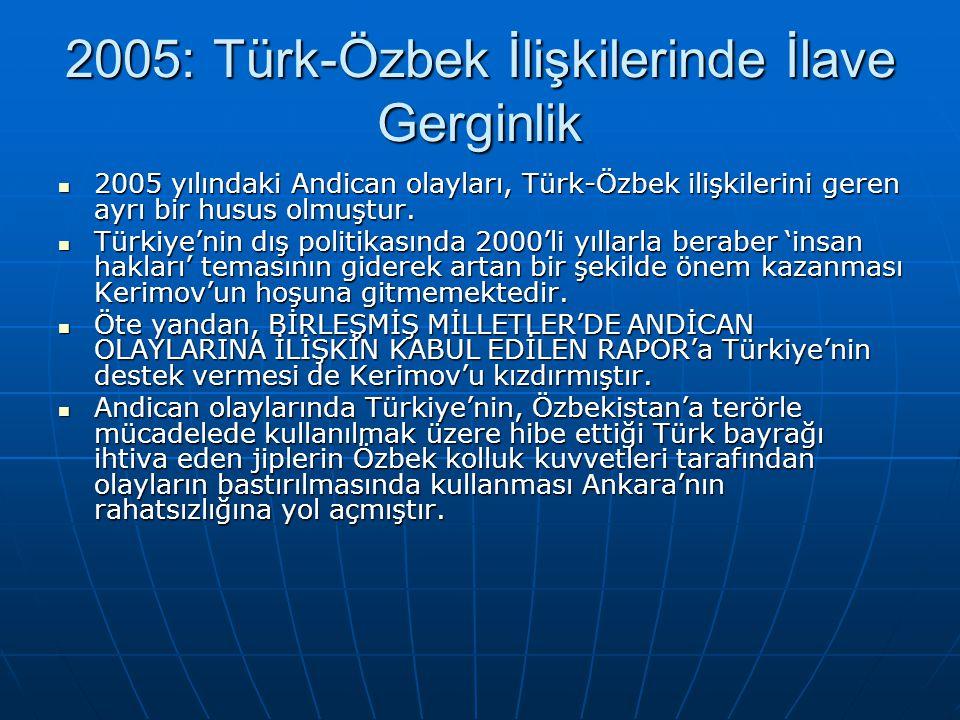 2005: Türk-Özbek İlişkilerinde İlave Gerginlik 2005 yılındaki Andican olayları, Türk-Özbek ilişkilerini geren ayrı bir husus olmuştur. 2005 yılındaki