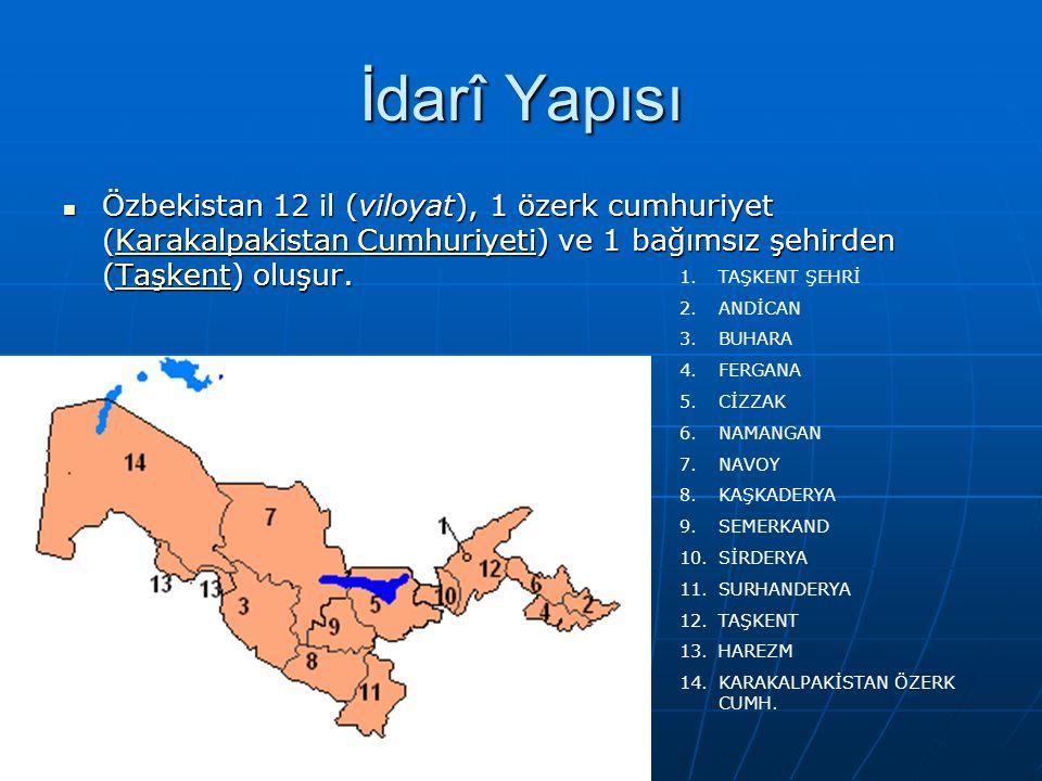 İdarî Yapısı Özbekistan 12 il (viloyat), 1 özerk cumhuriyet (Karakalpakistan Cumhuriyeti) ve 1 bağımsız şehirden (Taşkent) oluşur. Özbekistan 12 il (v