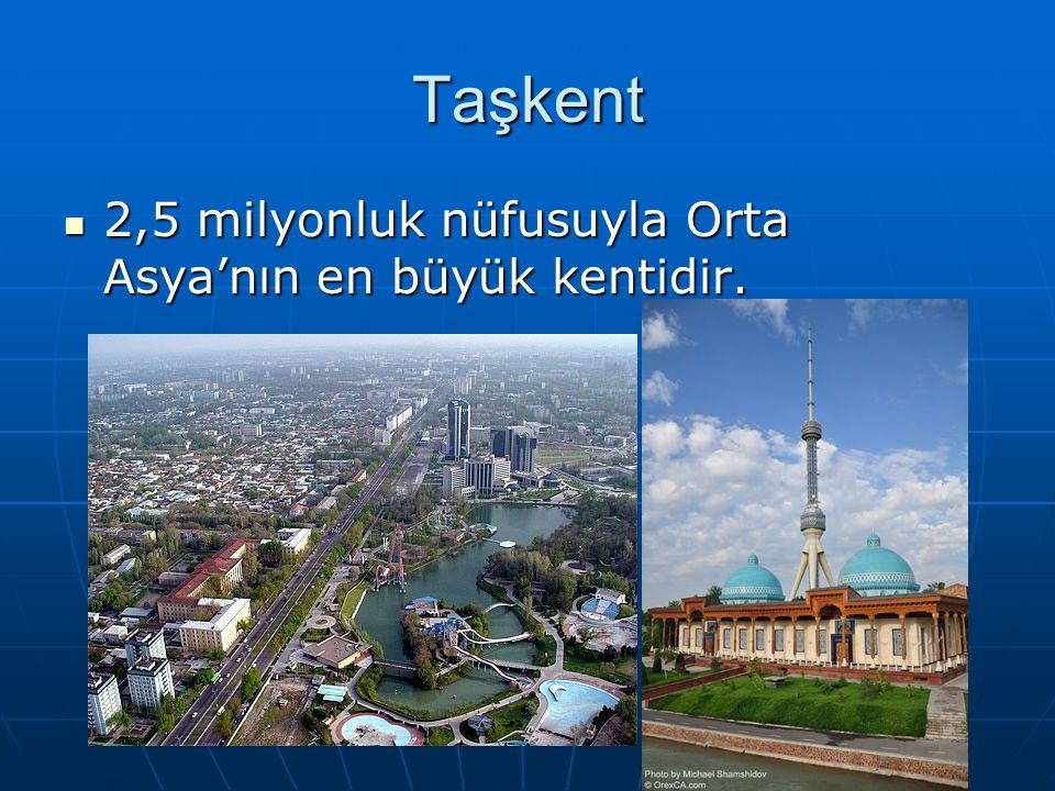 Taşkent 2,5 milyonluk nüfusuyla Orta Asya'nın en büyük kentidir. 2,5 milyonluk nüfusuyla Orta Asya'nın en büyük kentidir.
