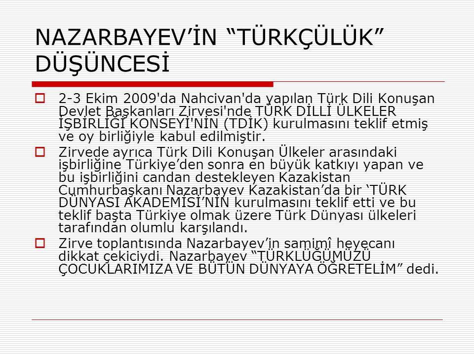 """NAZARBAYEV'İN """"TÜRKÇÜLÜK"""" DÜŞÜNCESİ  2-3 Ekim 2009'da Nahcivan'da yapılan Türk Dili Konuşan Devlet Başkanları Zirvesi'nde TÜRK DİLLİ ÜLKELER İŞBİRLİĞ"""