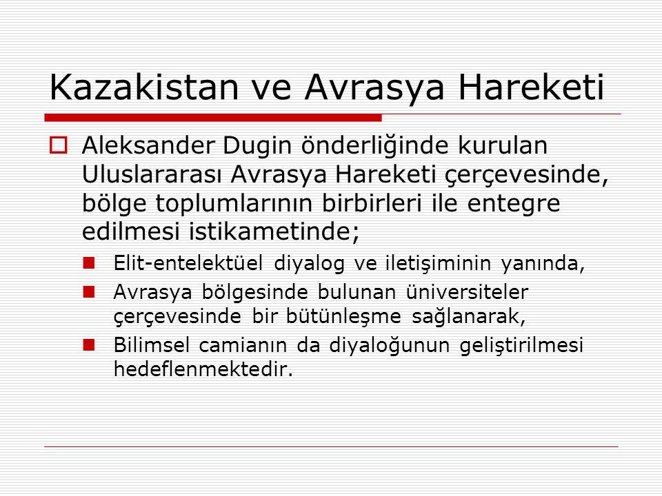 Kazakistan ve Avrasya Hareketi  Aleksander Dugin önderliğinde kurulan Uluslararası Avrasya Hareketi çerçevesinde, bölge toplumlarının birbirleri ile