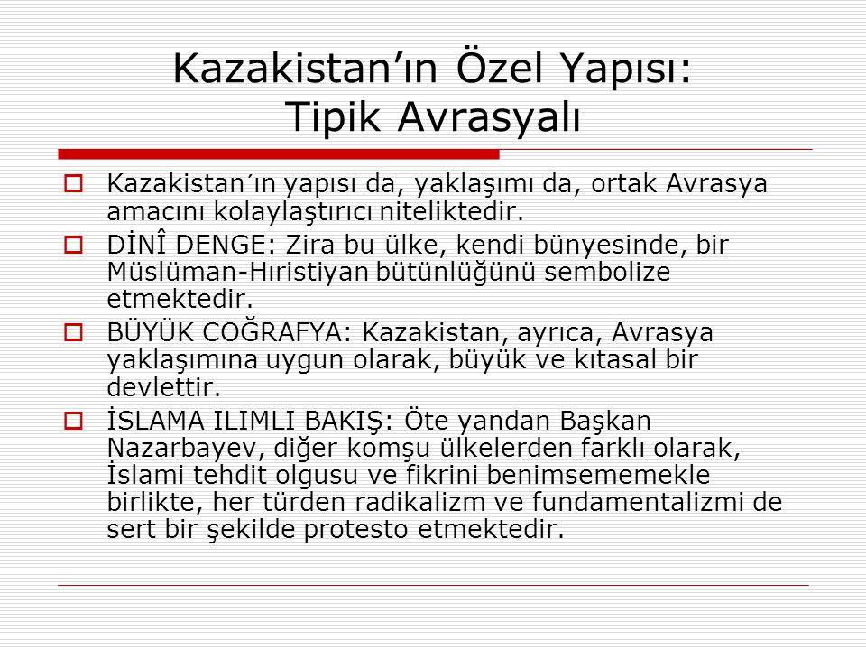 Kazakistan'ın Özel Yapısı: Tipik Avrasyalı  Kazakistan´ın yapısı da, yaklaşımı da, ortak Avrasya amacını kolaylaştırıcı niteliktedir.  DİNÎ DENGE: Z