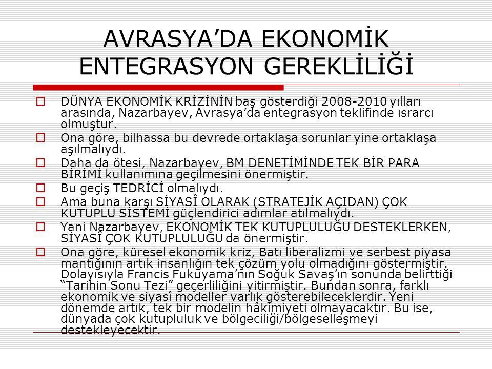 AVRASYA'DA EKONOMİK ENTEGRASYON GEREKLİLİĞİ  DÜNYA EKONOMİK KRİZİNİN baş gösterdiği 2008-2010 yılları arasında, Nazarbayev, Avrasya'da entegrasyon te