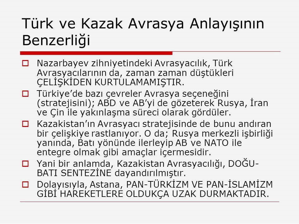 Türk ve Kazak Avrasya Anlayışının Benzerliği  Nazarbayev zihniyetindeki Avrasyacılık, Türk Avrasyacılarının da, zaman zaman düştükleri ÇELİŞKİDEN KUR