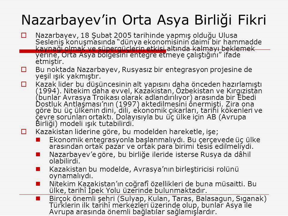 """Nazarbayev'in Orta Asya Birliği Fikri  Nazarbayev, 18 Şubat 2005 tarihinde yapmış olduğu Ulusa Sesleniş konuşmasında """"dünya ekonomisinin daimi bir ha"""