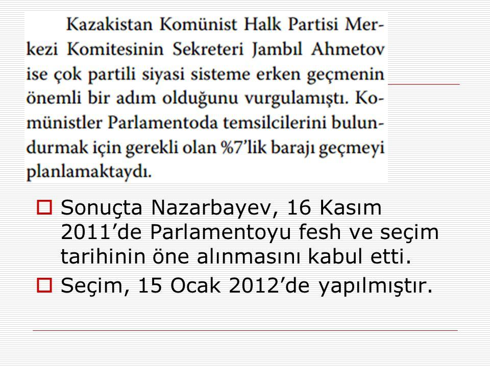  Sonuçta Nazarbayev, 16 Kasım 2011'de Parlamentoyu fesh ve seçim tarihinin öne alınmasını kabul etti.  Seçim, 15 Ocak 2012'de yapılmıştır.