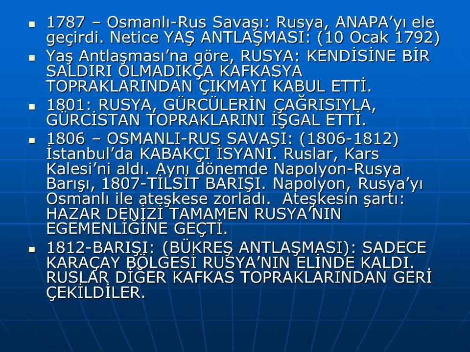 1787 – Osmanlı-Rus Savaşı: Rusya, ANAPA'yı ele geçirdi.