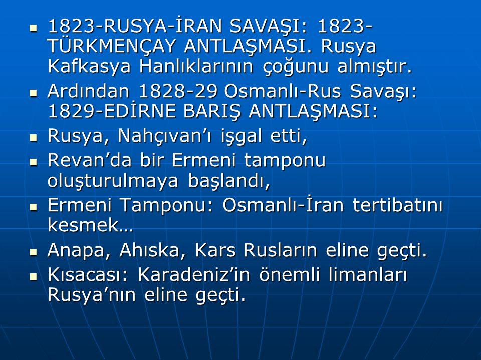 1823-RUSYA-İRAN SAVAŞI: 1823- TÜRKMENÇAY ANTLAŞMASI.