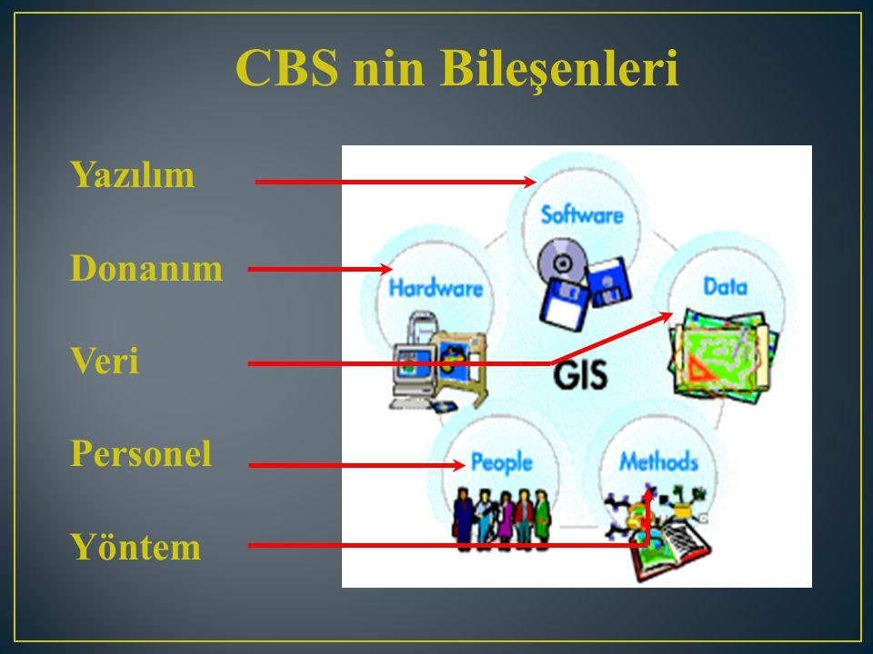 CBS yazılımları, coğrafi verinin depolanması, analizi ve görüntülenmesi için gerekli fonksiyon ve araçları sağlar.