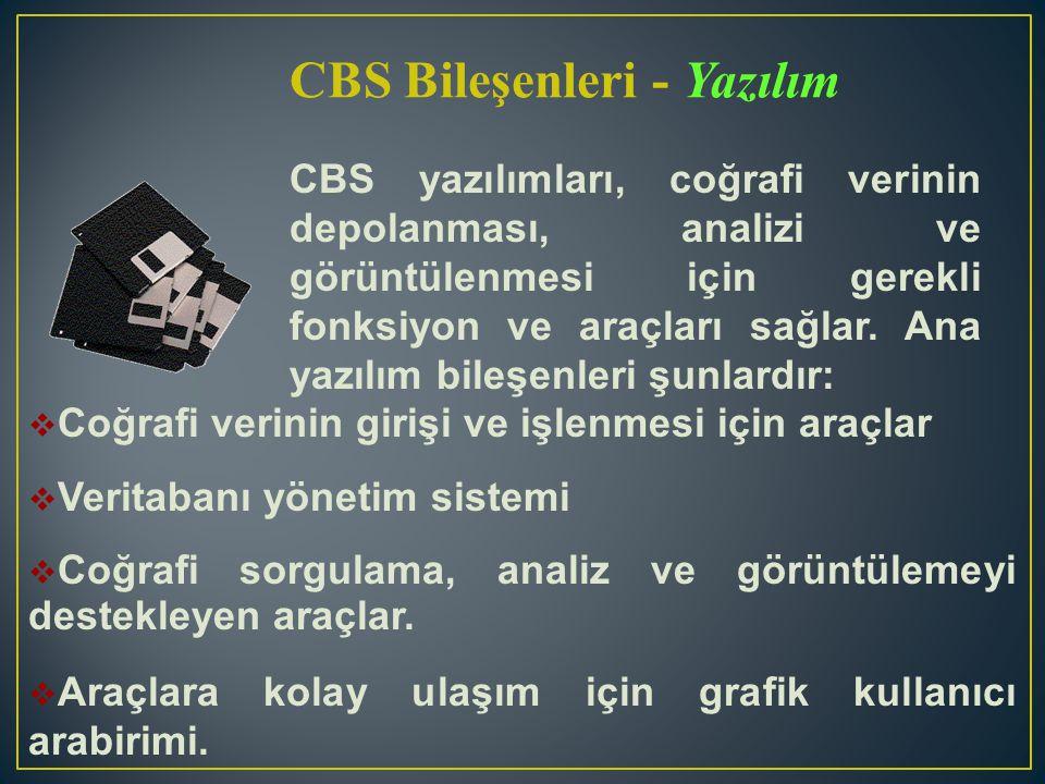 CBS yazılımları, coğrafi verinin depolanması, analizi ve görüntülenmesi için gerekli fonksiyon ve araçları sağlar. Ana yazılım bileşenleri şunlardır: