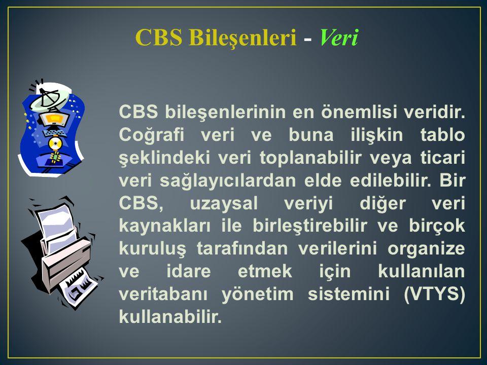 CBS bileşenlerinin en önemlisi veridir. Coğrafi veri ve buna ilişkin tablo şeklindeki veri toplanabilir veya ticari veri sağlayıcılardan elde edilebil