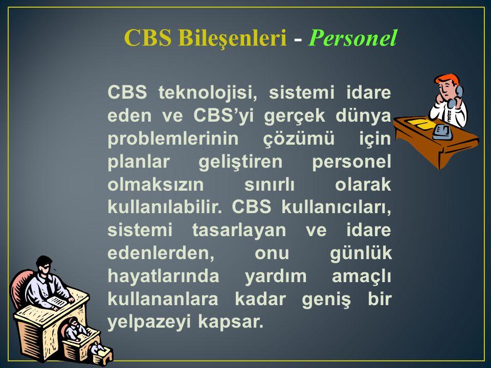 CBS teknolojisi, sistemi idare eden ve CBS'yi gerçek dünya problemlerinin çözümü için planlar geliştiren personel olmaksızın sınırlı olarak kullanılab