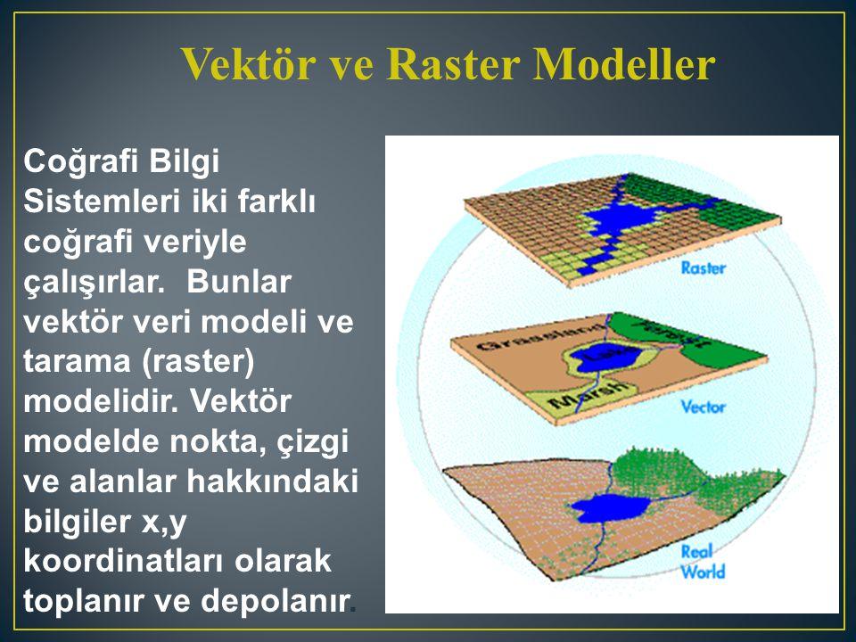 Vektör ve Raster Modeller Coğrafi Bilgi Sistemleri iki farklı coğrafi veriyle çalışırlar. Bunlar vektör veri modeli ve tarama (raster) modelidir. Vekt