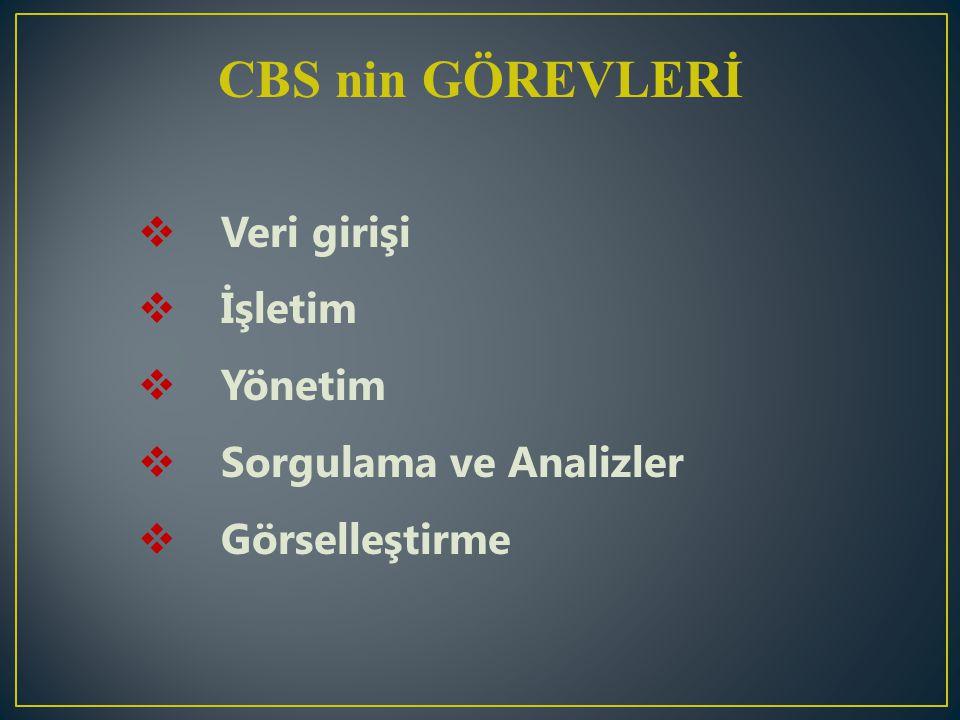 CBS nin GÖREVLERİ  Veri girişi  İşletim  Yönetim  Sorgulama ve Analizler  Görselleştirme