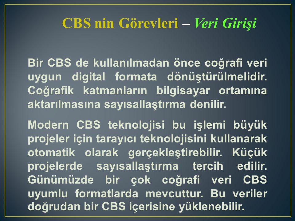 CBS nin Görevleri – İşletim Belirli bir CBS projesi için talep edilen veri türlerinin sisteminizle uyumlu olabilmesi için bir şekilde dönüştürülmeli ya da manipüle edilmelidir.