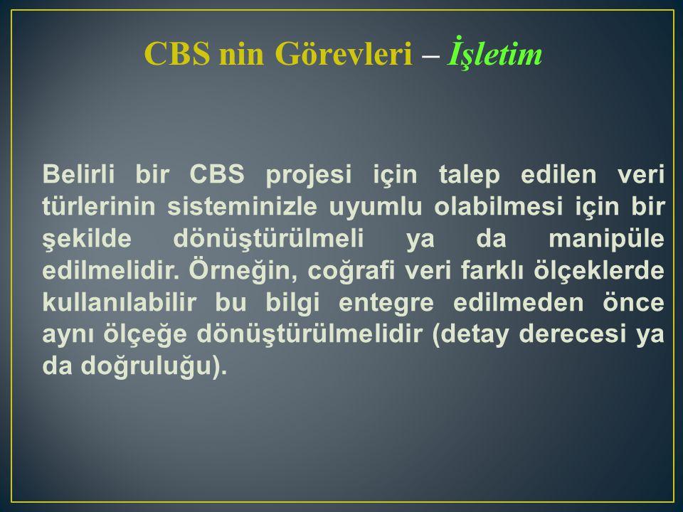 CBS nin Görevleri – İşletim Belirli bir CBS projesi için talep edilen veri türlerinin sisteminizle uyumlu olabilmesi için bir şekilde dönüştürülmeli y