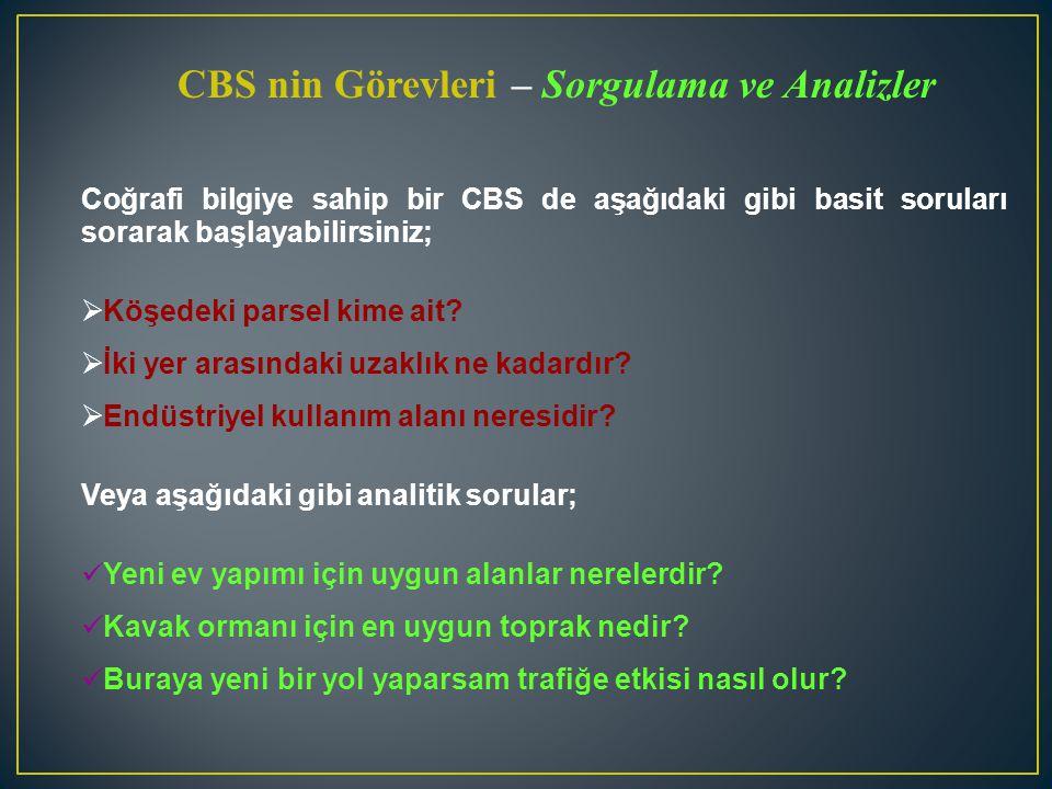 Coğrafi bilgiye sahip bir CBS de aşağıdaki gibi basit soruları sorarak başlayabilirsiniz;  Köşedeki parsel kime ait?  İki yer arasındaki uzaklık ne