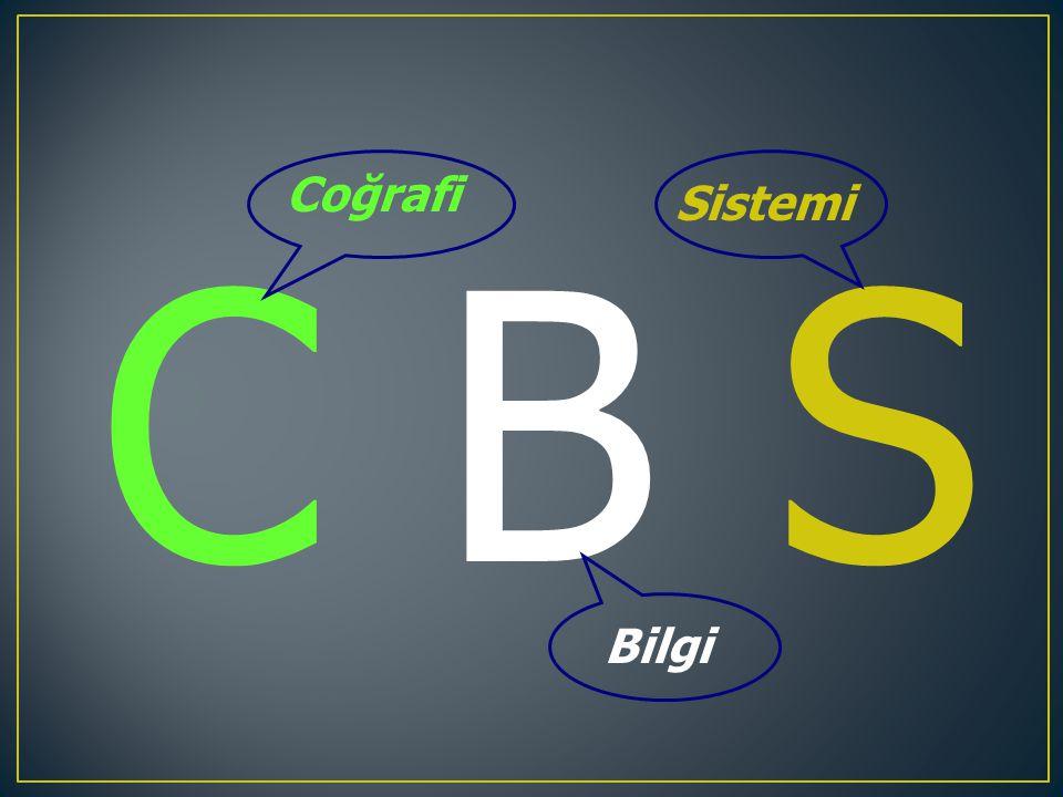 COĞRAFİ BİLGİ SİSTEMİ Coğrafi Bilgi Sistemi (CBS-GIS) haritalama ve yeryüzünde varolan nesneler ve gelişen olayların analizi için bilgisayar tabanlı bir araçtır.