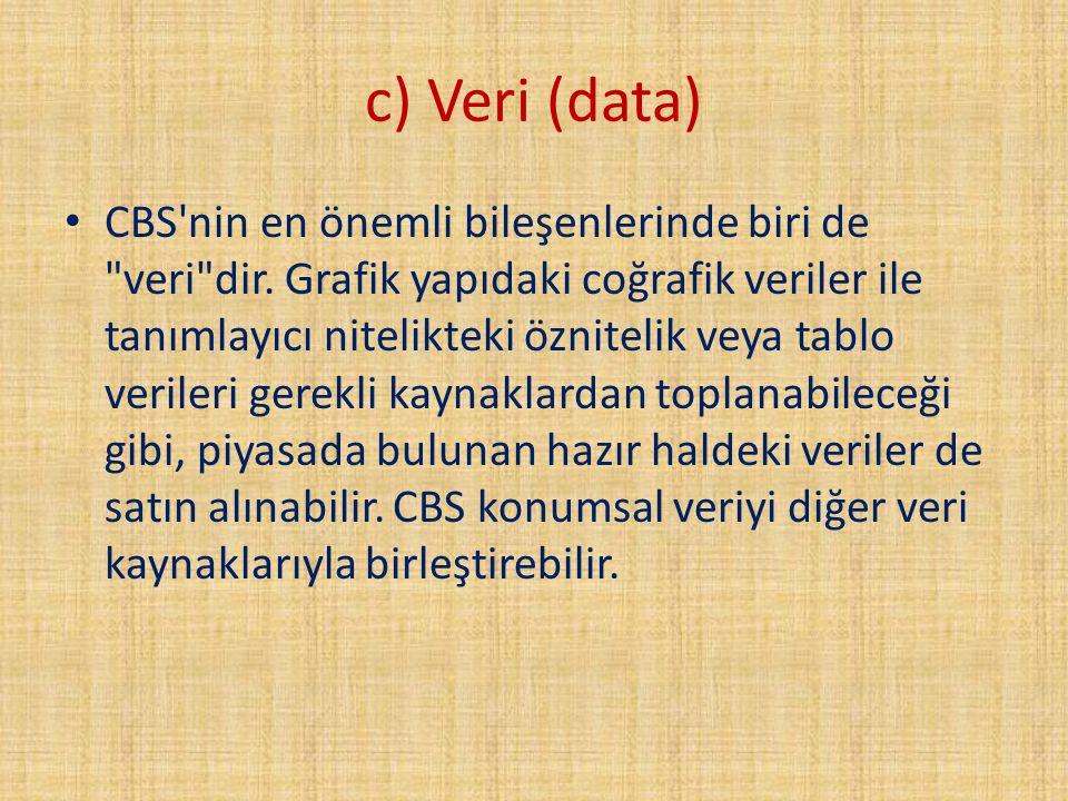 c) Veri (data) CBS'nin en önemli bileşenlerinde biri de