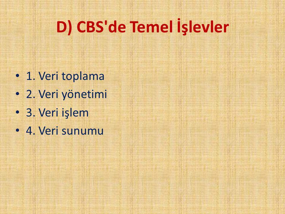 D) CBS'de Temel İşlevler 1. Veri toplama 2. Veri yönetimi 3. Veri işlem 4. Veri sunumu