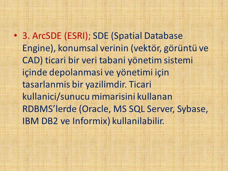 3. ArcSDE (ESRI); SDE (Spatial Database Engine), konumsal verinin (vektör, görüntü ve CAD) ticari bir veri tabani yönetim sistemi içinde depolanmasi v