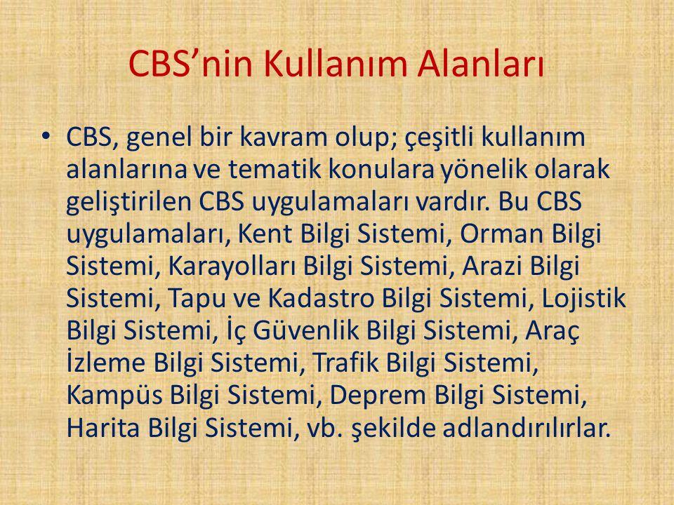 CBS'nin Kullanım Alanları CBS, genel bir kavram olup; çeşitli kullanım alanlarına ve tematik konulara yönelik olarak geliştirilen CBS uygulamaları var