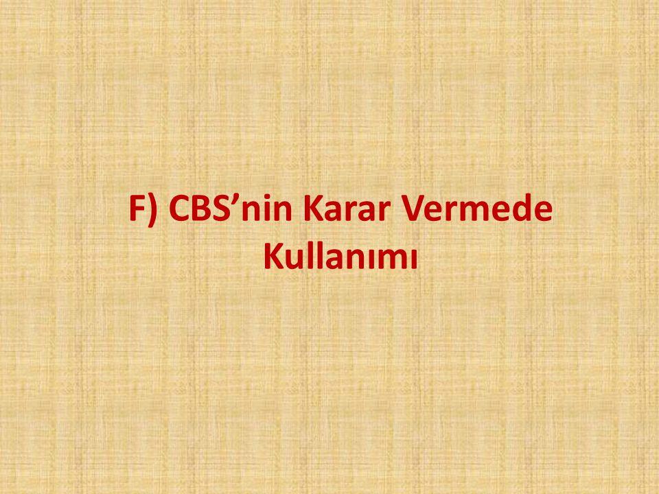 F) CBS'nin Karar Vermede Kullanımı