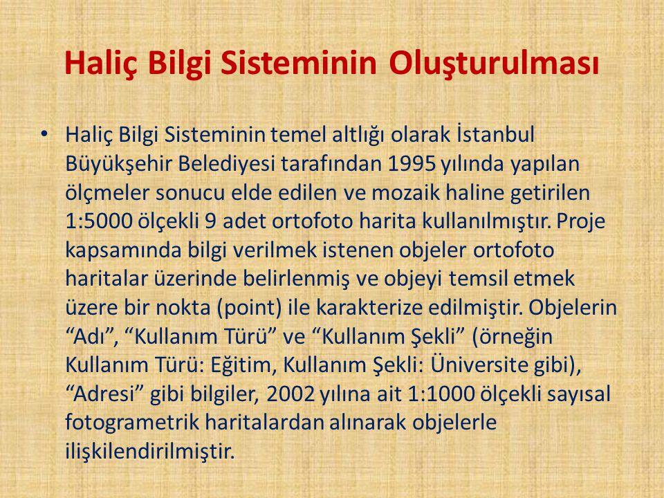 Haliç Bilgi Sisteminin Oluşturulması Haliç Bilgi Sisteminin temel altlığı olarak İstanbul Büyükşehir Belediyesi tarafından 1995 yılında yapılan ölçmel