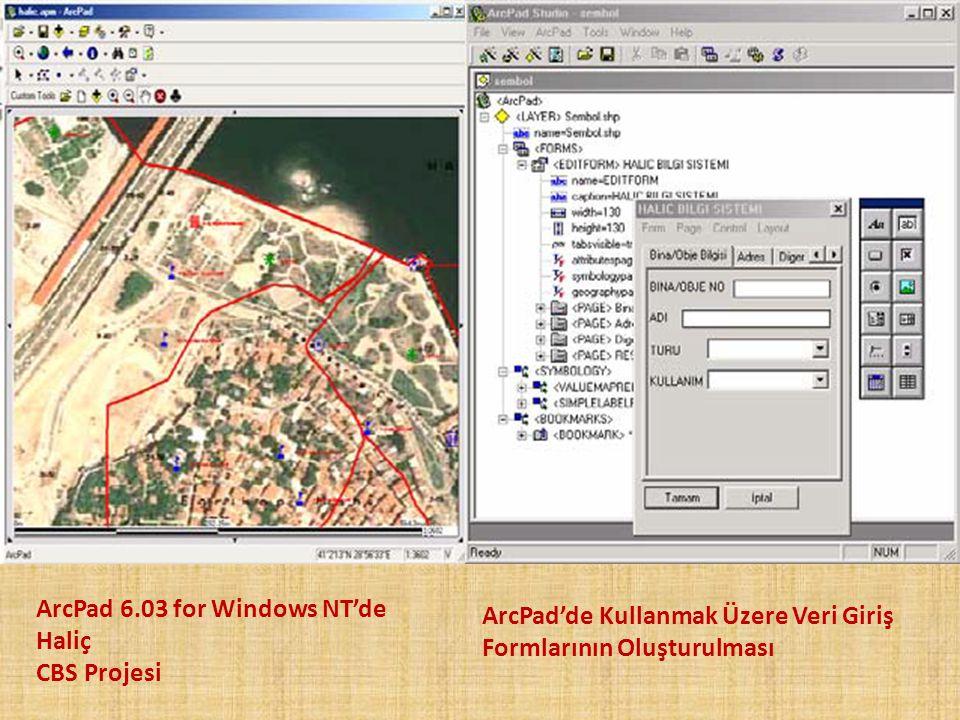 ArcPad 6.03 for Windows NT'de Haliç CBS Projesi ArcPad'de Kullanmak Üzere Veri Giriş Formlarının Oluşturulması